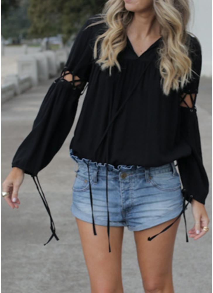 Anself Criss Cross Straps Hollow Out Blouse