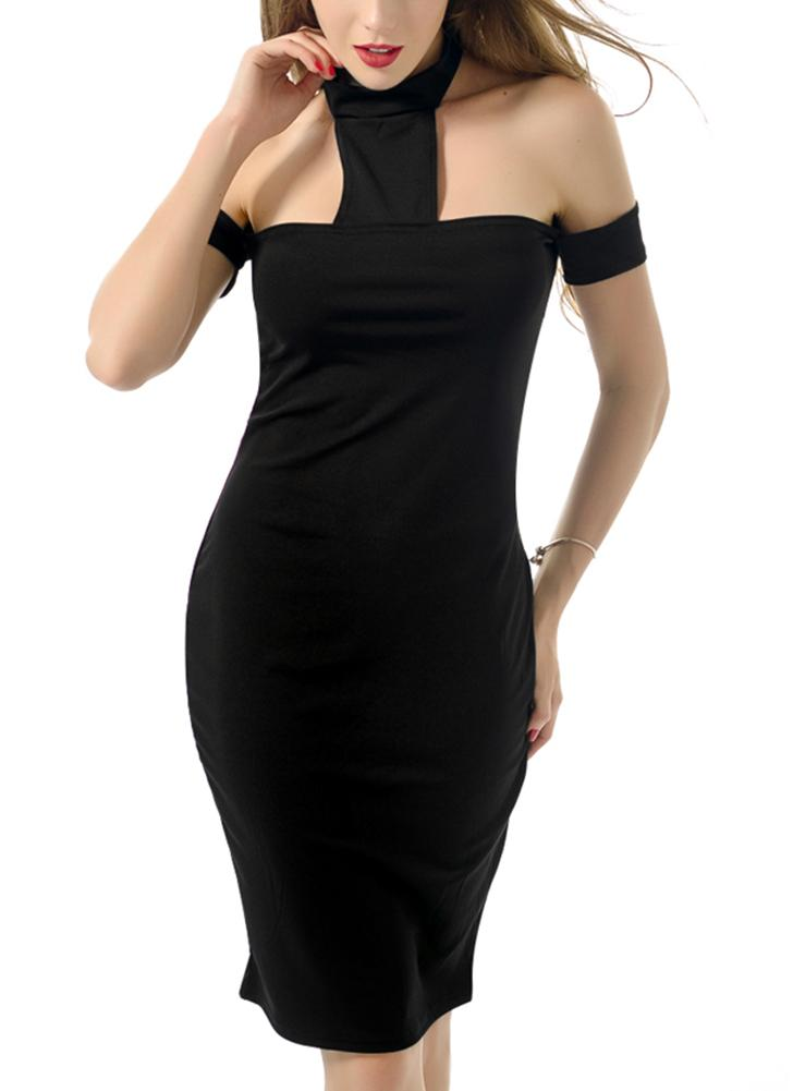 Kleid schwarz neckholder