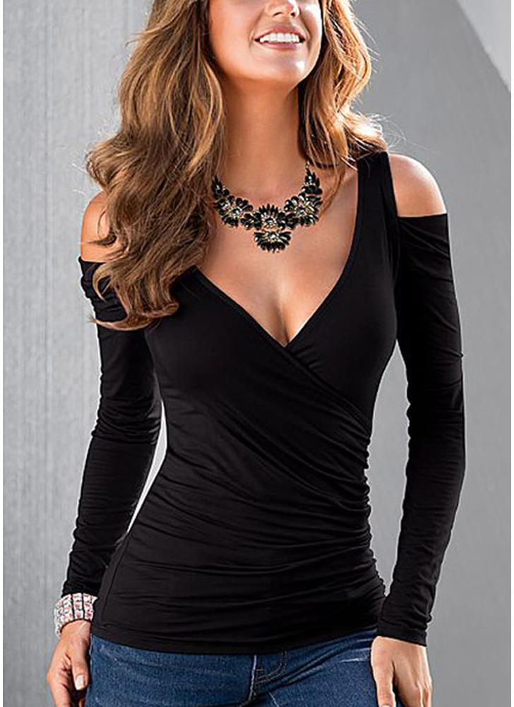 New Sexy Women Blouse Cross froncé Cut Out avant Cold Shoulder Backless col V Casual Tops Tee