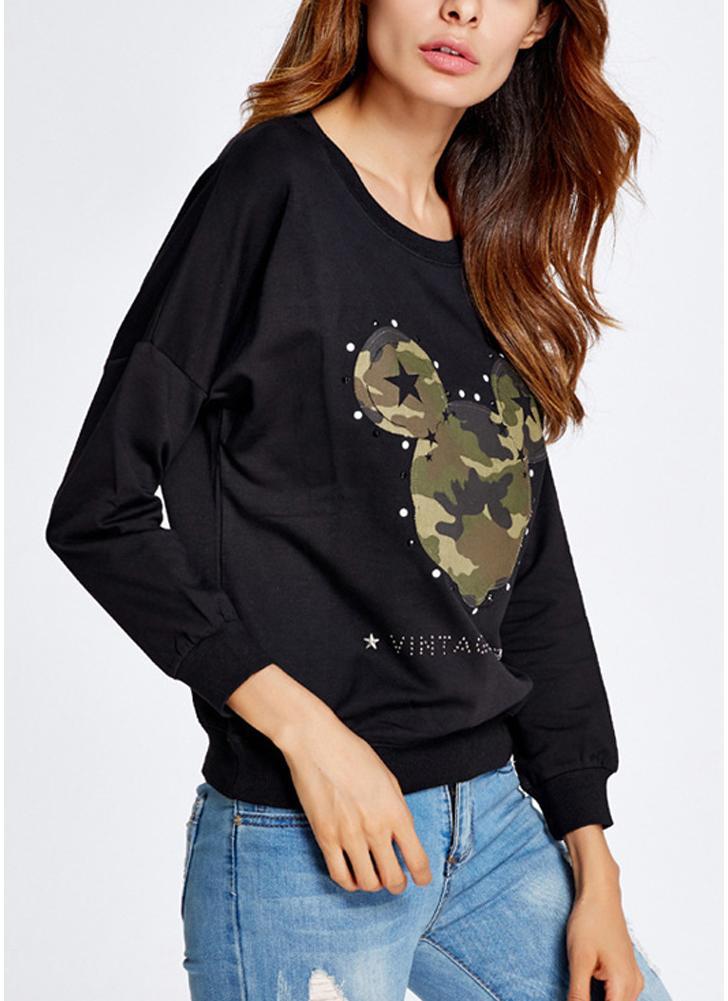 Women Sweatshirt Camouflage Pattern Stars Appliques Letter Rhinestone Casual Pullover Top Black