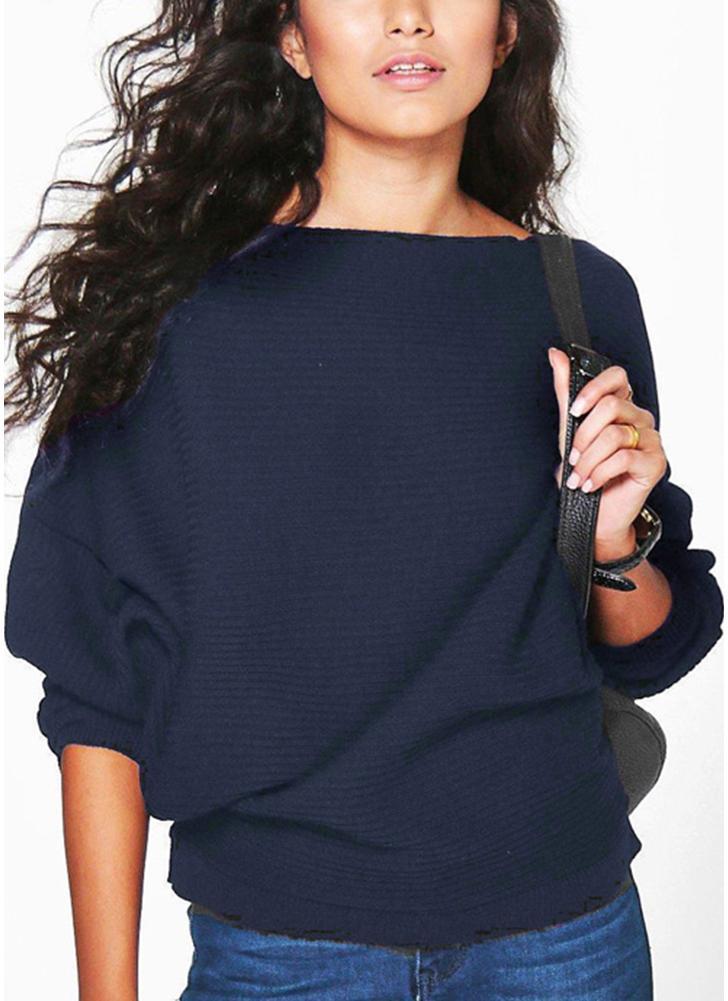 Nouveau Mode féminine surdimensionnée Rib Knit Batwing Pull à manches longues O col loose Casual Tops Knitwear