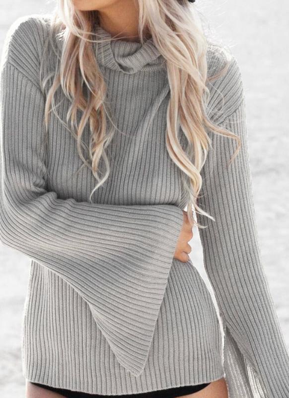 207bd275cc Le nuove donne Collo maglieria rigata Split Flare manicotto allentato  casuale pullover maglione ponticello Top Grigio