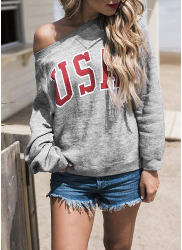 Women Long Sleeve  USA Letter Print O-Neck Shirt Sweatshirt Top Casual Tee Top