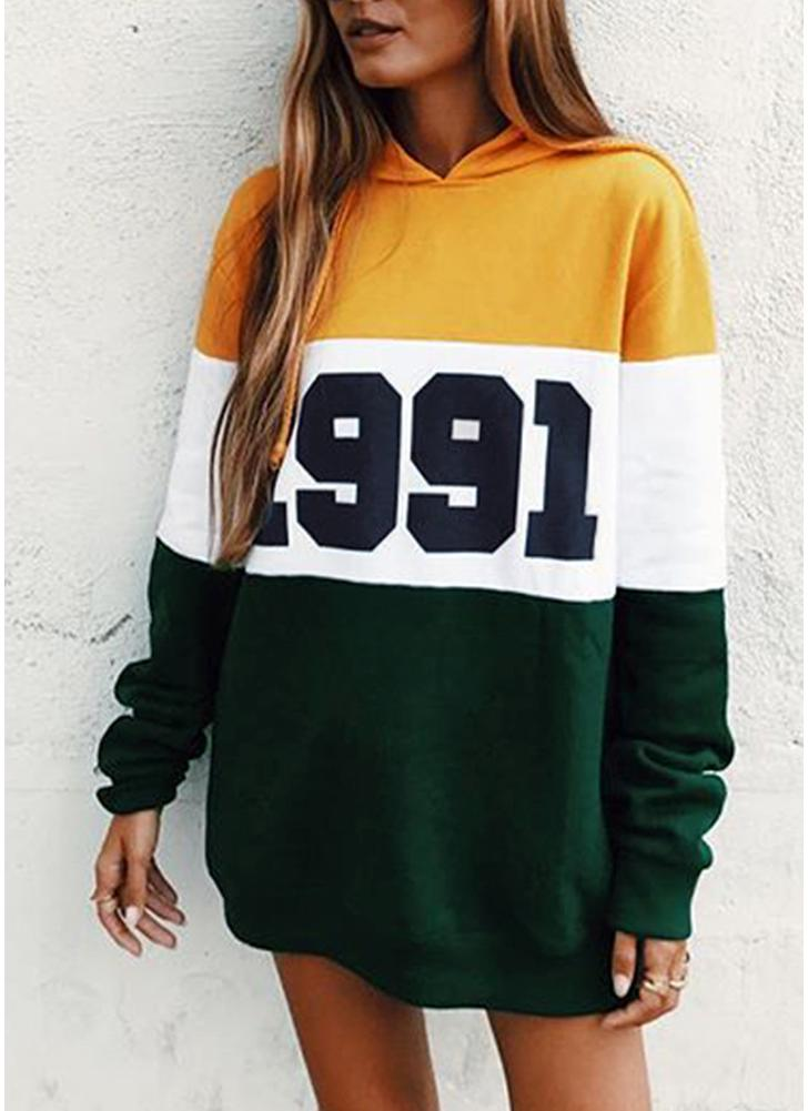 Fashion Women Hoodie Sweatshirts Number Color Block Long Sleeve Casual Loose Pullover Hooded Tops