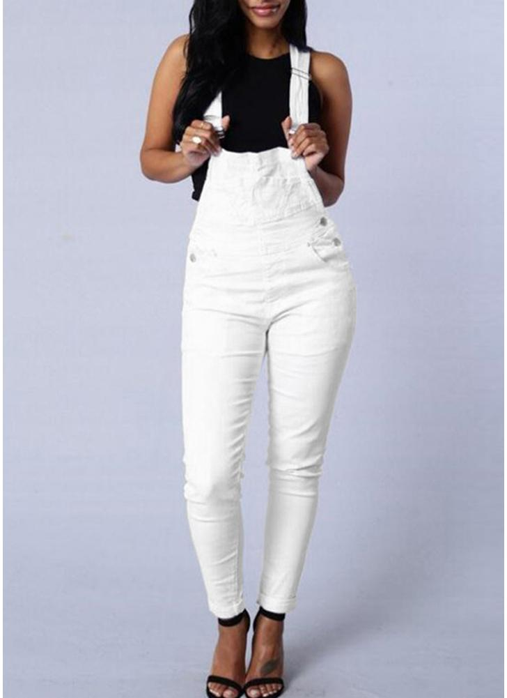 Denim Dungarees Combinaisons ajustables Skinny Pants Pencil Jeans Pantalons