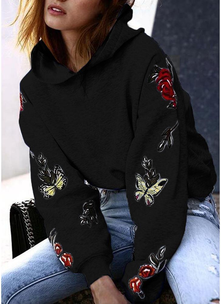 Noir Pour Chicuu L À Capuche Floral Sweats Imprimé Femme dwHqY4Z