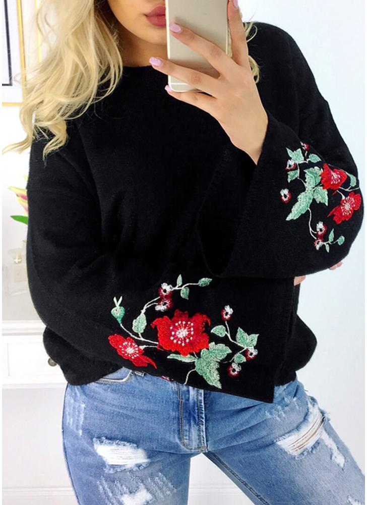 Women Knitted Sweater Floral Embroidery Pullover Jumper Flare Long Sleeve Casual Loose Tops