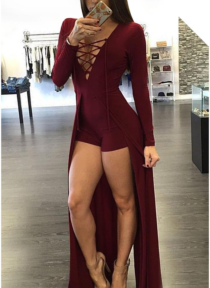 Sexy Lace-up Jumpsuit Deep V Jupe Jupe Bodycon Body Shorts Combinaison 16a2cc886f8