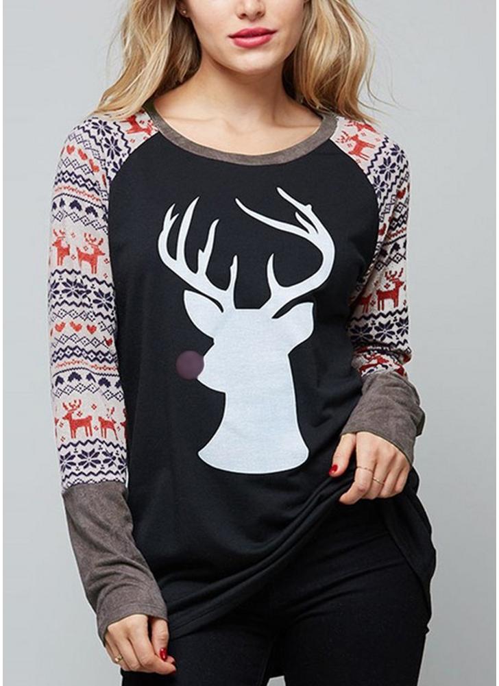 Autumn Women Christmas Reindeer Print O-Neck Long Sleeve Shirt T-Shirt