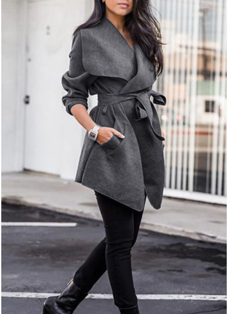 Jacken Mantel großer Revers fester Mantel lange Hülsen Taschen beiläufige Oberbekleidung