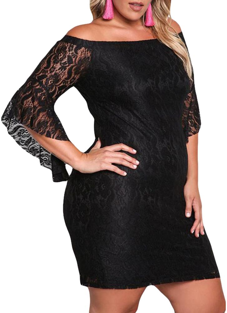 Lace Dress Plus Size Off Shoulder Bodycon Mini Dress Oversize Party