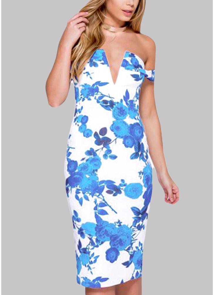 Floral Print Dress Off Shoulder Deep V Neck Split Back Party Bodycon Dress