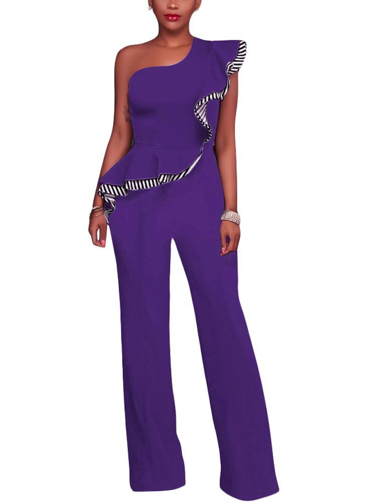4b7bec28f0f Sexy Women Jumpsuit One-Shoulder Ruffles Sleeveless Wide Legs Elegant  Casual Romper