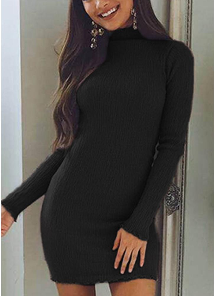High Neck Bodycon Mini vestido de malha de malha
