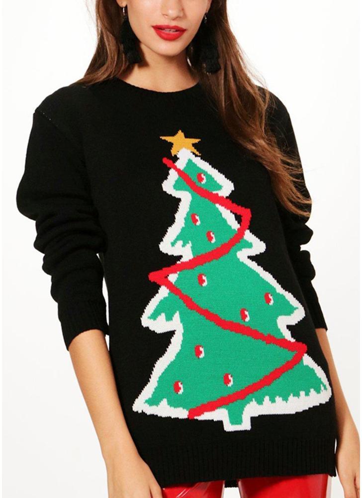 Mulheres Natal Santa Malha Sweater Tamanho único