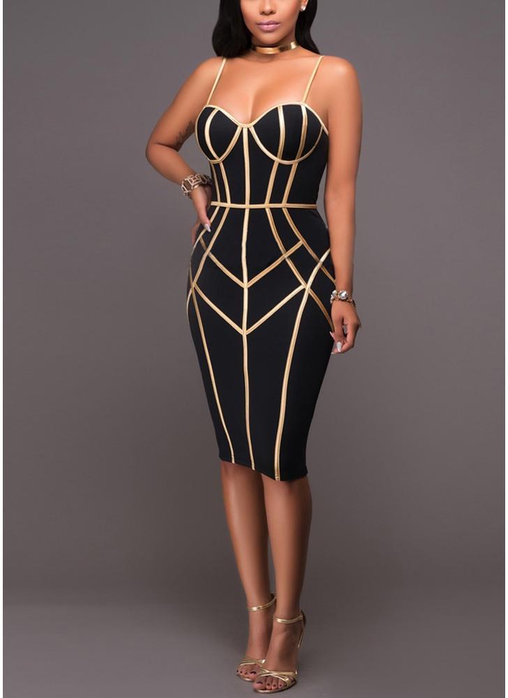 Sexy Women Stripe Spaghetti Strap Party Vestido Midi