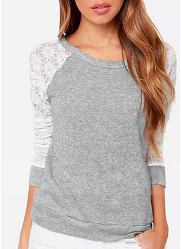 Women Crochet Shirt Long Sleeves Hollow Out Lace Loose Casual Pullover Top Backless T-Shirt