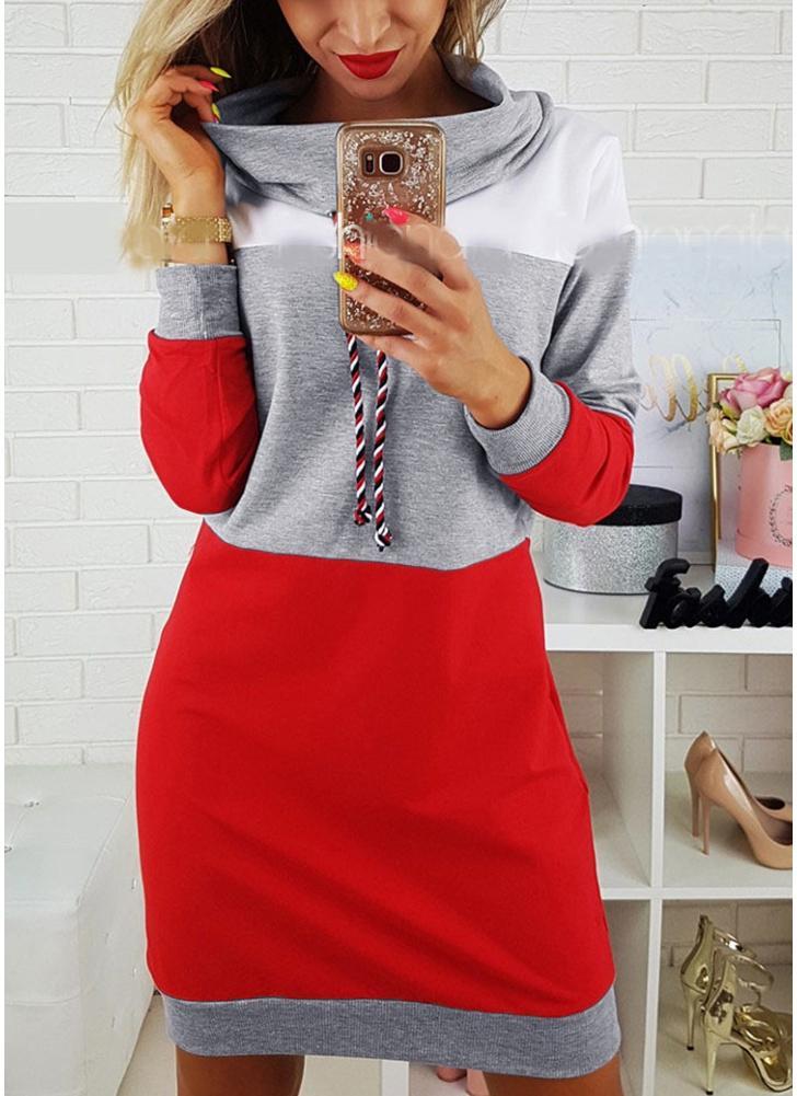 New Fashion Donna Felpe Pullover con laccetti Maniche lunghe Felpe con cappuccio medio-lungo Toppe larghe Grigio / Blu royal