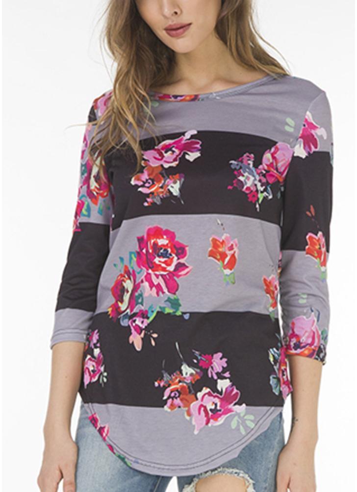 T-shirt imprimé fleuri à manches 3/4 pour femme