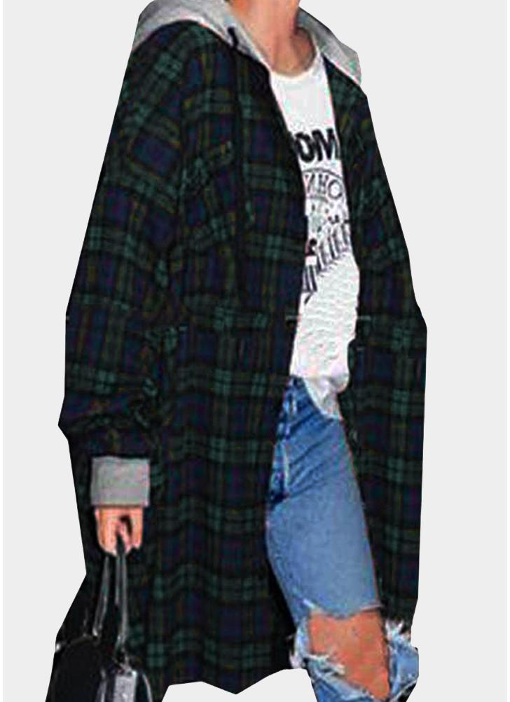Fashion Women Plaid Hooded Button Closure Long Sleeve Irregular Hem Oversized Shirt
