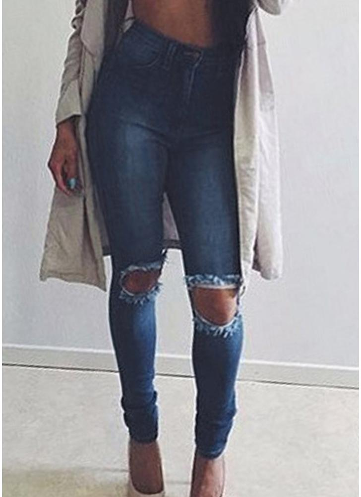 Sexy Women Denim Jeans Ripped Hole Skinny Pants Washed Distressed Stretch Pencil Trousers