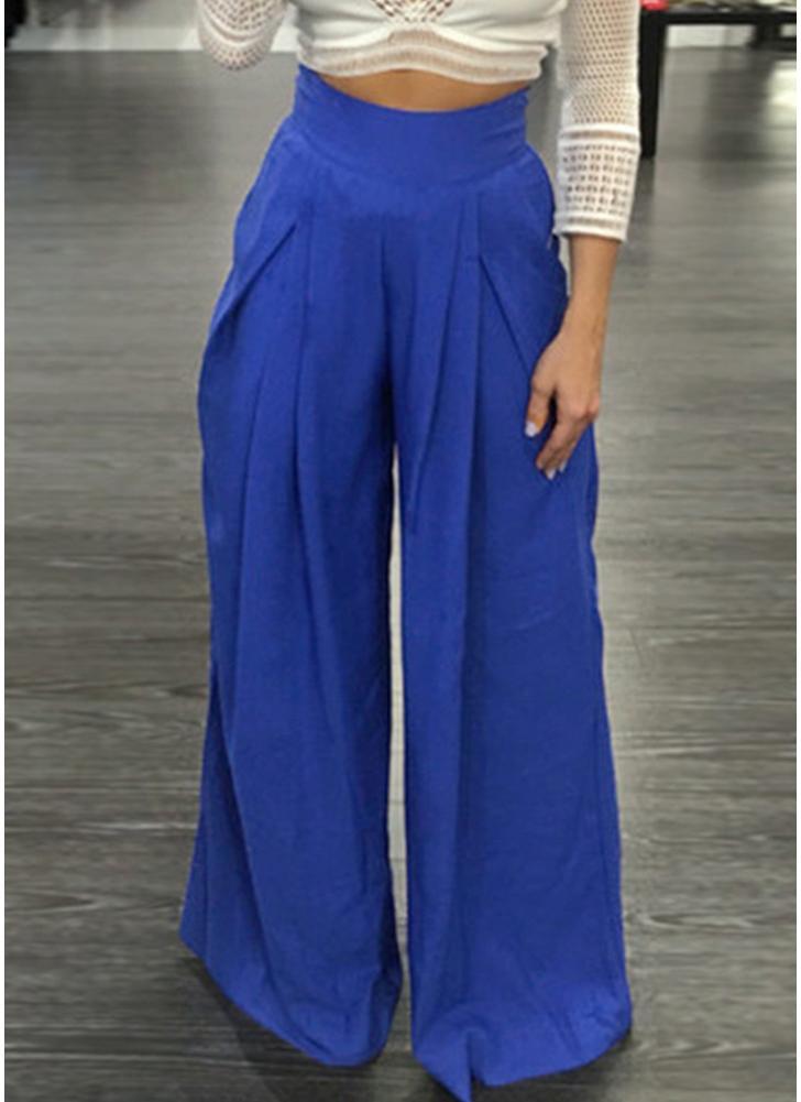 Women Pants Solid Color High Waist Wide Loose Legs
