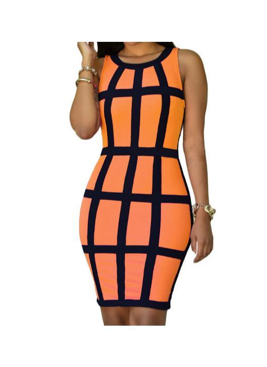 Sexy femmes robe Stripe O Neck manches Clubwear Slim Sundress