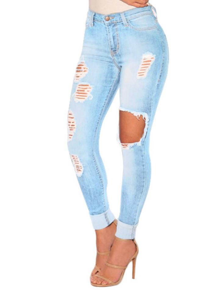 Light Blue M Fashion High Waist Ripped Jeans Destroyed