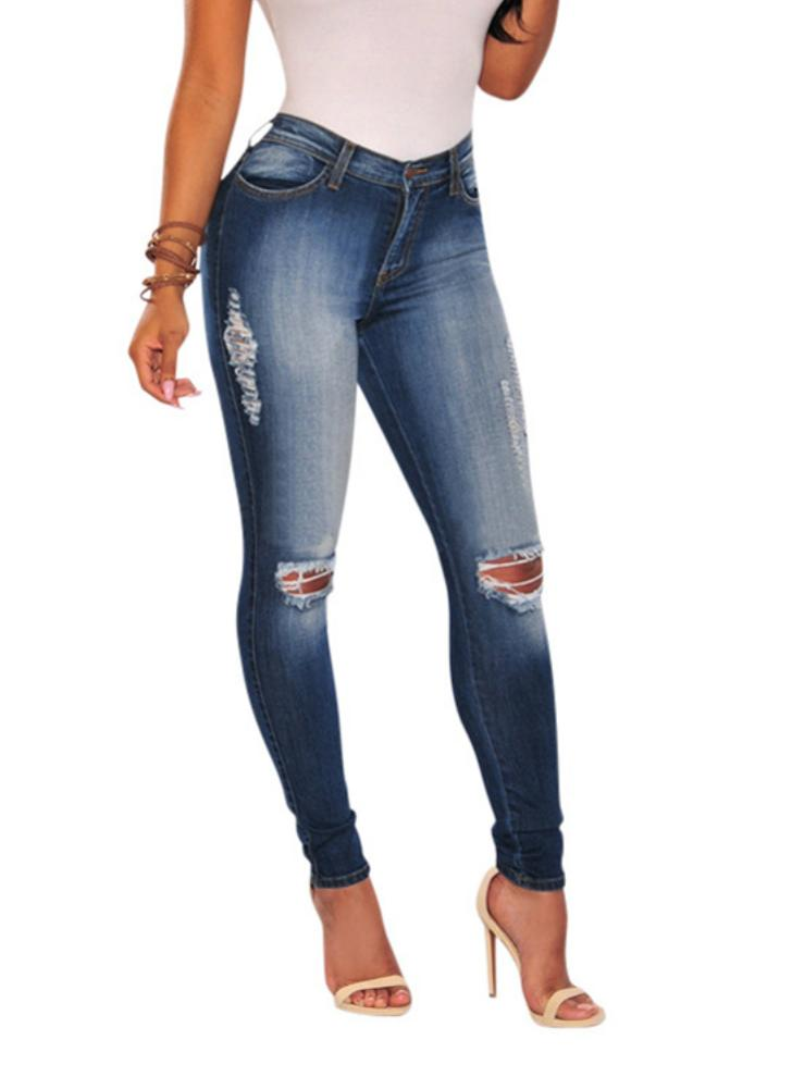 Las mujeres atractivas rasgaron Hole Vaqueros ajustados alta Lápiz Pantalones Leggings azul