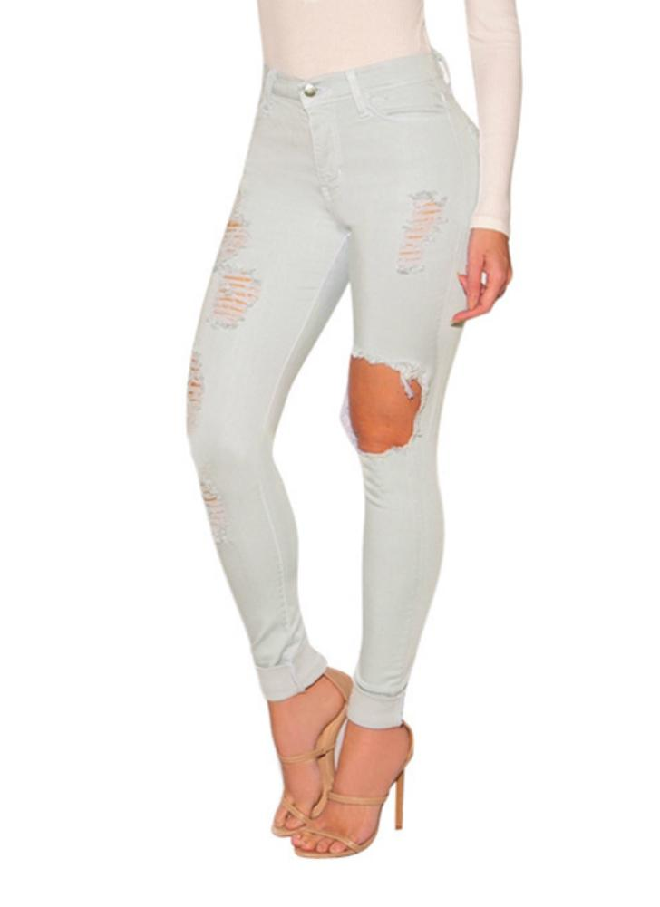 Sexy Denim Jeans Ripped Hole Tights High Waist Skinny Bodycon Pants