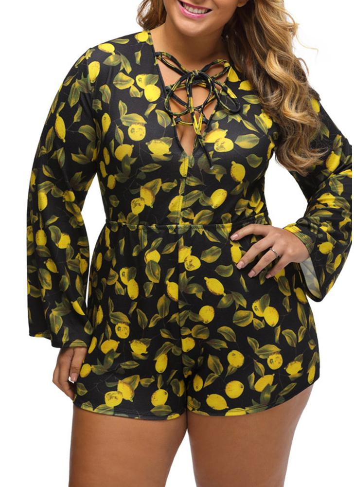 Plus Size Print Deep V Lace Up Backless High Waist Long Sleeve Rompers
