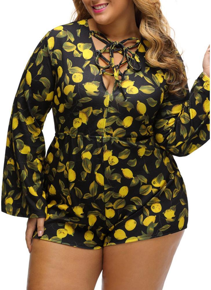 Nuove donne sexy Plus Size vita alta Playsuit i pagliaccetti Shorts stampato tuta V profondo Lace-Up a manica lunga