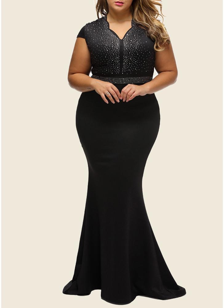 Plus Size Rhinestone Scalloped V Neck High Waist Maxi Dress