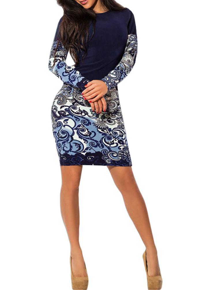 Dress Donna Primavera Estate Vestito aderente stampa lunga del partito del  manicotto da sera blu Clubwear 7698607fa9c