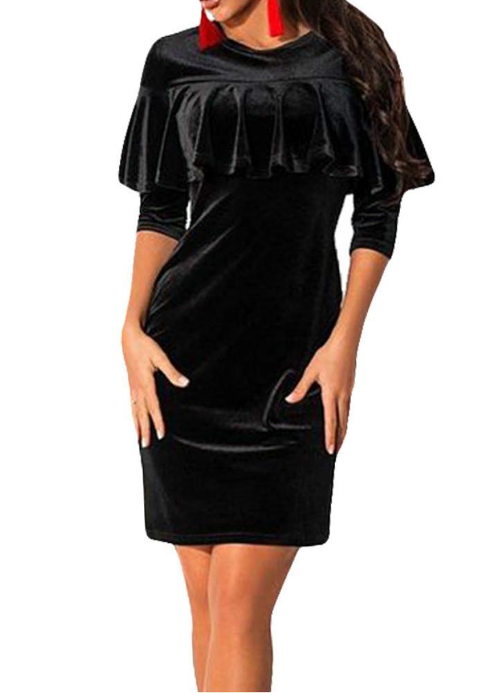 Mini donne sexy velluto Vestito aderente solido di colore Ruffle O-collo  mezze maniche partito afb160a30d6