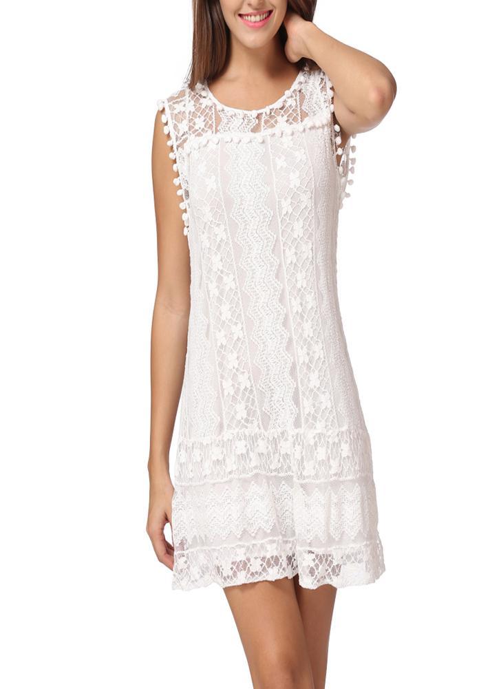 Verão Mulheres Lace vestido sem mangas O Neck Tassel Casual mini vestido em linha reta Vestido de Verão Deslocamento Vestido Branco / Preto