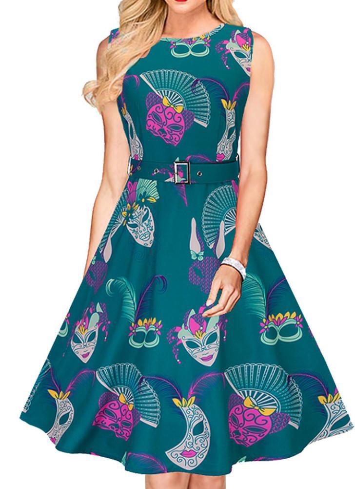 grün s Neuer Frauen-Midi-Kleid Vintage-Pint O-Ansatz Sleeveless Gurt ...