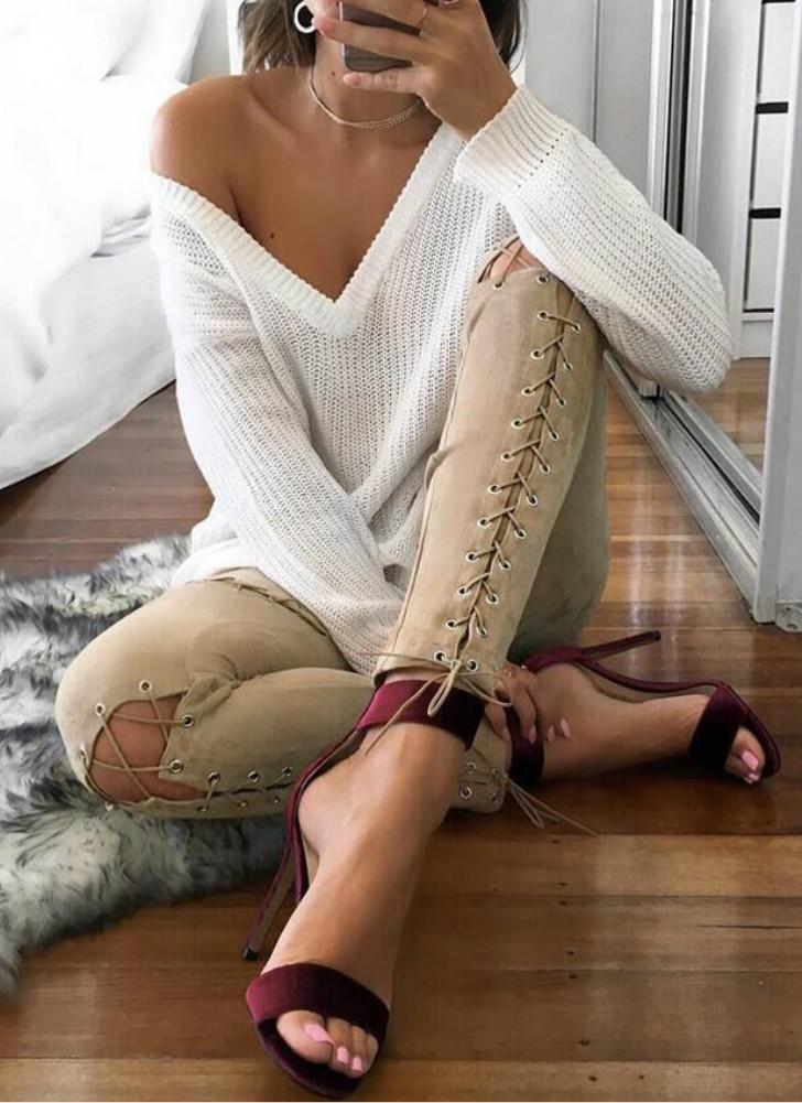Sexy Faux Suede Lace Up Vendaje de cintura alta de las polainas de las mujeres