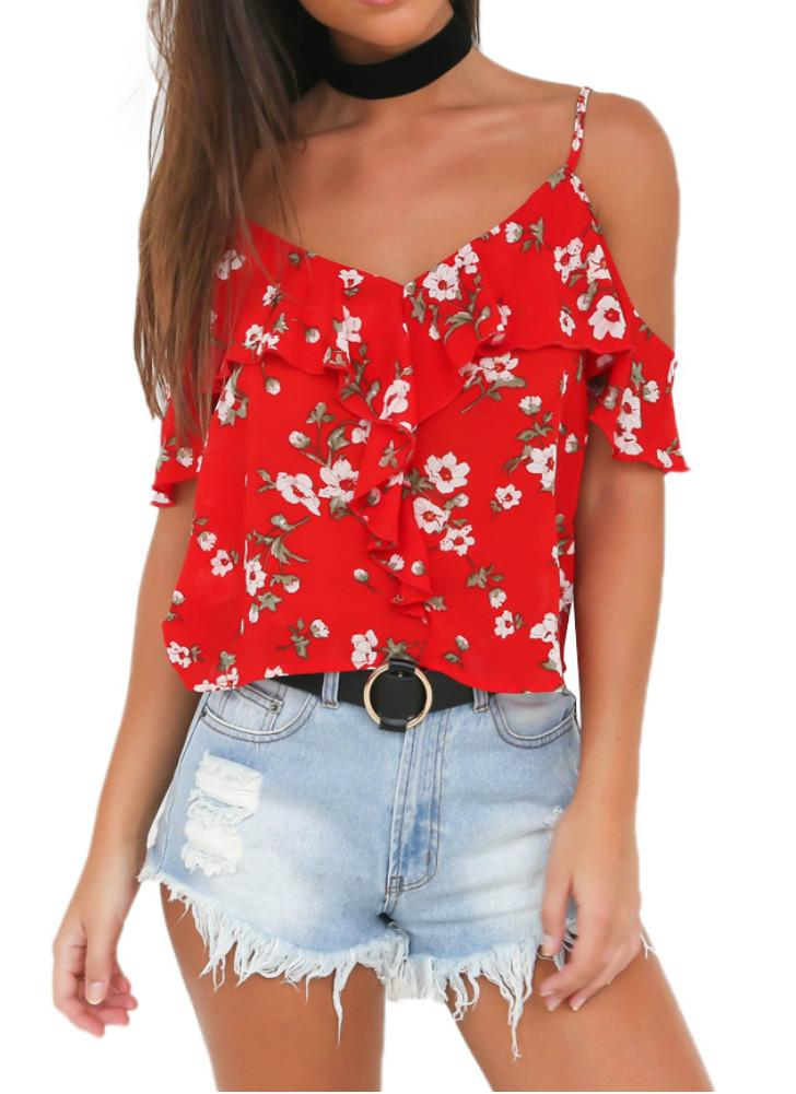Off The Shoulder Chiffon Spaghetti Strap Floral Flare Sleeve Women's Loose Tops