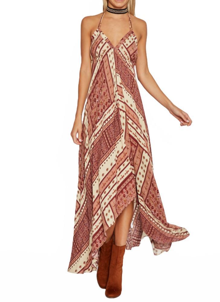 Vestido de las mujeres de impresión geométrica V cabestro sin mangas Cami dobladillo asimétrico maxi de Boho de la playa de una sola pieza azul marino / Amarillo