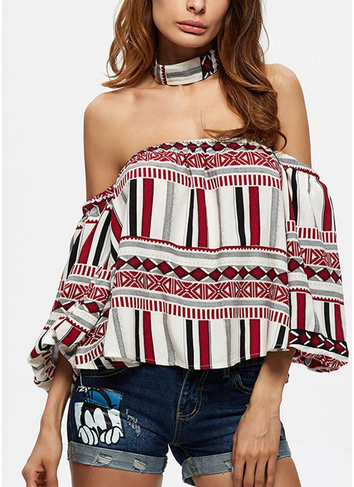 Chemise géométrique Sexy Off Shoulder Stripe Choker Backless Casual Blouse