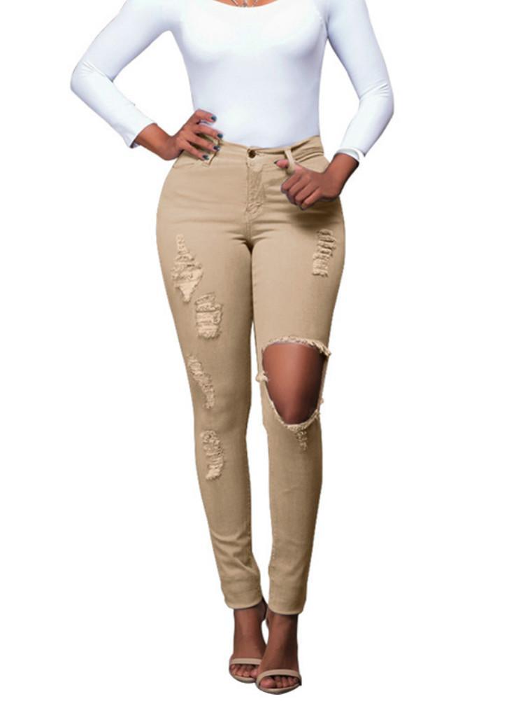 Neue reizvolle Frauen-Denim-Jeans Zerrissene Loch Tights mit hoher Taille  dünn Bodycon Hosen 5db666e2db