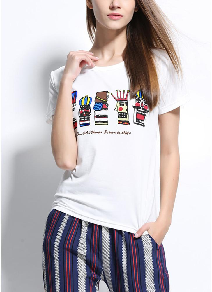 Fashion  Summer  Round Neck Short Sleeve Printed Casual T-shirt
