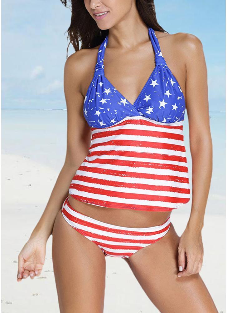 Le donne Costume da bagno sexy Tankini con scollo a V Halter Backless banda della stella Beach Swimwear due pezzi costume da bagno blu