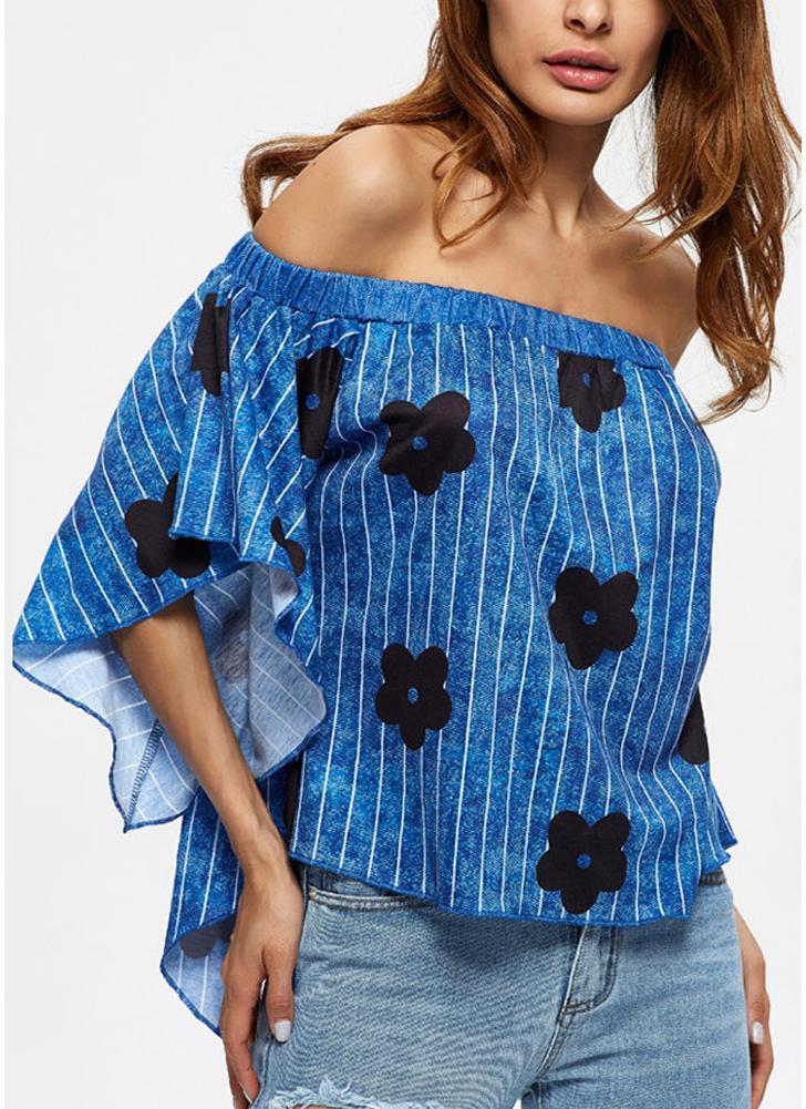 Weinlese-Streifen weg von der Schulter Elastic Kreuz Asymmetric Frauen-T-Shirt