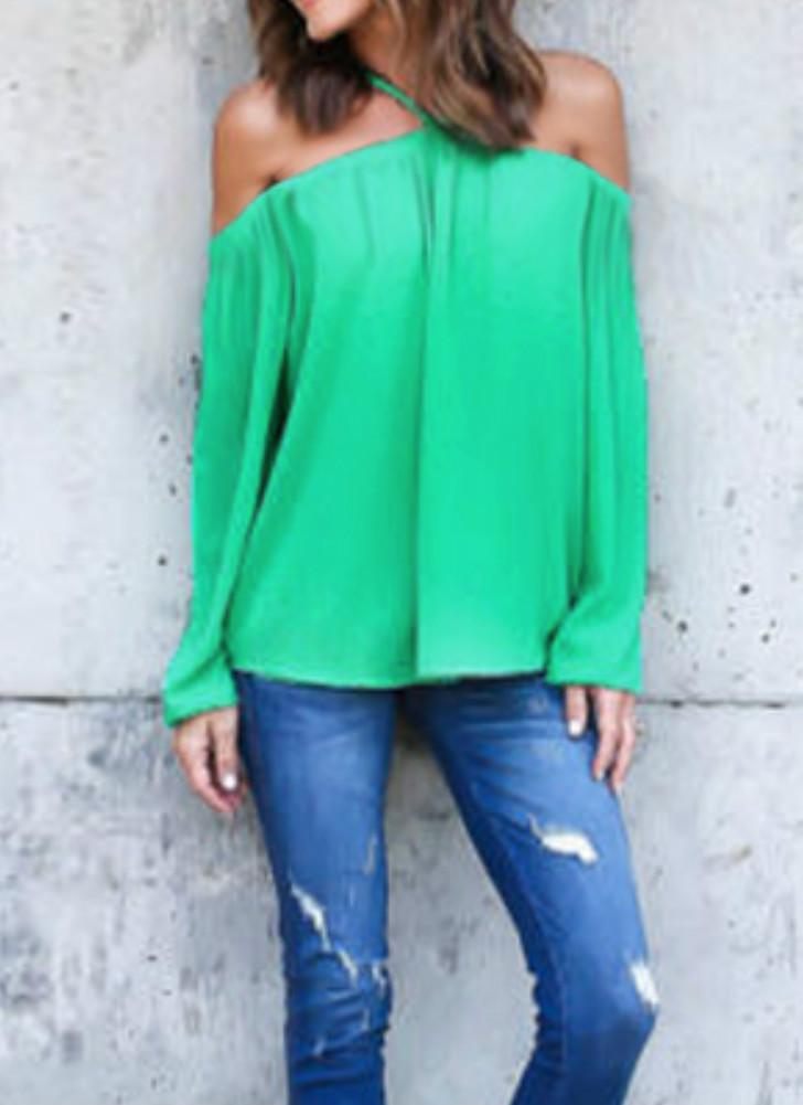 Sexy Off Shoulder Halter Long Sleeve Chiffon Women's Blouse