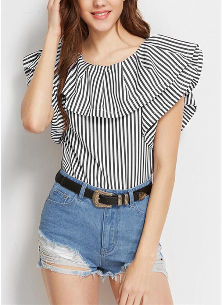 Ruffle  Striped Shirt Short Sleeves Casual Elegant Women's Blouse