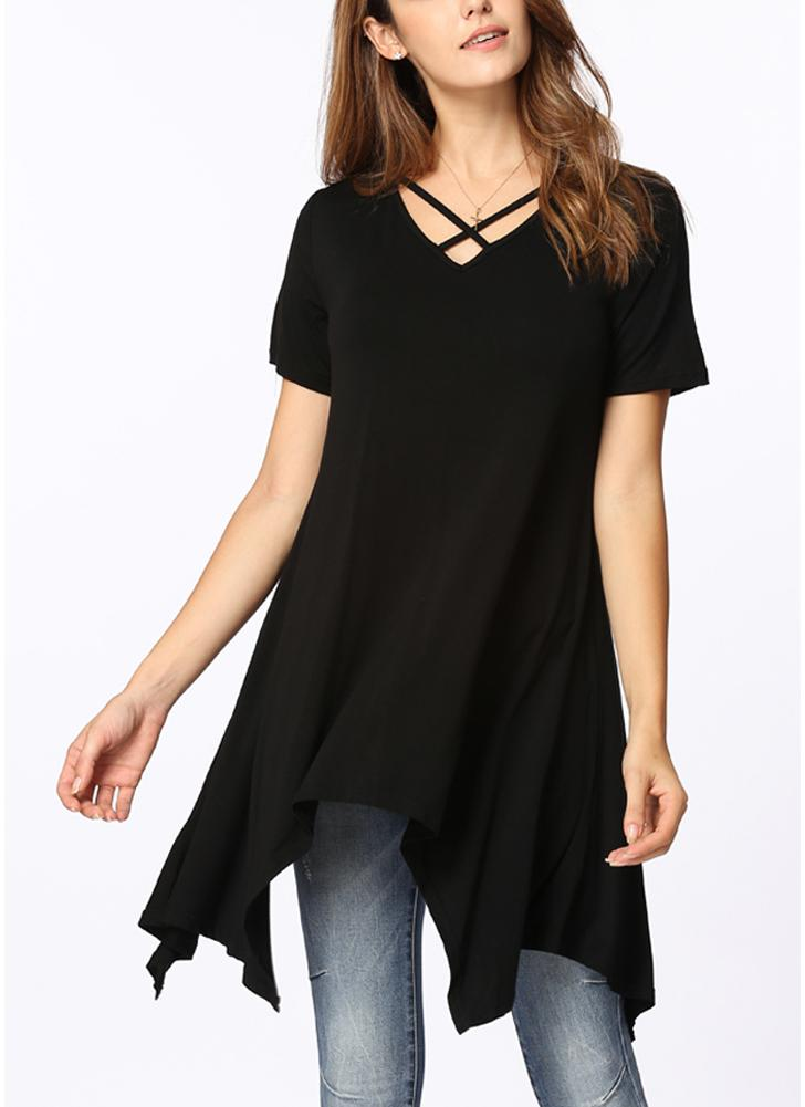 Estate Asimmetrica V Neck Short Sleeve Solid Loose Casual Donna T-Shirt df5b0c9bbb3