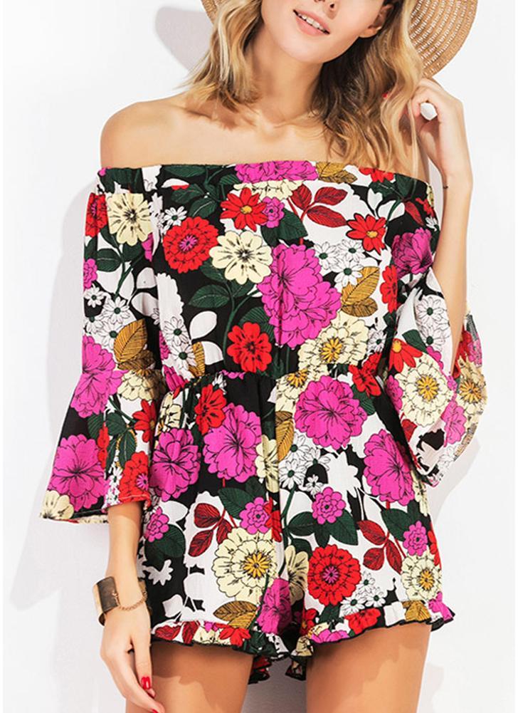 Impresión floral atractiva de la llamarada del hombro 3/4 mangas de los mamelucos de las mujeres sin respaldo