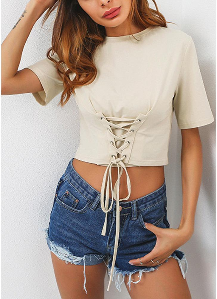 Sexy Lace-Up Front Bandage Kurzarm Solid Slim Frauen Ernte Top